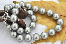 """GENUINE 10-14mm gray sea shell pearl necklace string 18""""  AAA"""