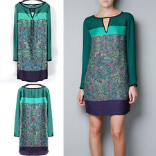 Fashion Lady elegant Floral Print Bohemian Green Dresses Vintage sexy Mini Dress