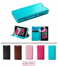 Leather Wallet Flip Folio Pouch Case Cover w/ Card ID Stand for NOKIA Lumia 521