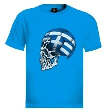 Greece Flag World Cup Skull T-Shirt football soccer mondial national team fan