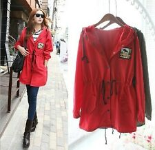 Womens Hooded Pleated Long Trench Coat Tops With Waist Rope Belt Coat Dress