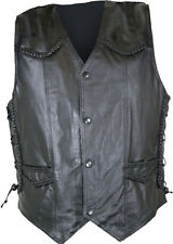 Mens Braided Side Lace Leather Vests