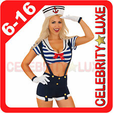 New Navy Sailor Uniform Ladies Rockabilly Pin Up Fancy Dress Costume 20s 50s 70s