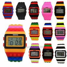 Rainbow Men Women SHHORS Multicolor Block Bricks Design Sports LED Wrist Watch