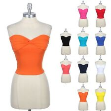 Twisted Front Bustier Bra Padded Tube CROP Top Strapless Sexy Cute Cotton S M L