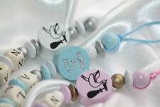 Born in 2014 - Baby Personalised Wooden Dummy Chain , Holder -Next day delivery
