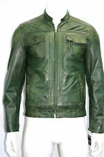 JAMES MENS ,FASHION CLASSIC DESIGNER, CELEBRITY PARTY GREEN WAX LEATHER JACKET
