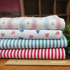 Navy Anchor 4 Assorted Pre-Cut Linen Quilt Fabric Fat Quarter or By the Yard