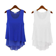 Hot New WOMEN LADIES SLEEVELESS BLOUSE CASUAL TANK TOPS LONG VEST T-SHIRT Tee