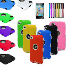 Deluxe 3 Piece Hybrid Impact Case Cover For iPod Touch 4 4G 4TH Gen+Stylus+Flim