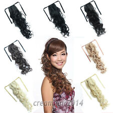 """24"""" Long Curly Body Wavy Hair Extensions Ribbon Pony Tail Wrap Clip In Hairpiece"""