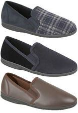 Mens New Navy / Grey / Brown Twin Gusset Comfy Slip On Slippers UK Sizes 6 - 16
