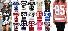 New Womens American Varsity Striped Oversize Baggy Ladies T-Shirt Mod Girls Top