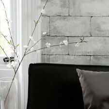 'Breeze Block' wallpaper Stone Brick Effect Wallpaper in Grey & Concrete colour