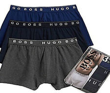 HUGO BOSS Men's 3 -Pack 100% Cotton Boxer Shorts Trunk In Gry/Navy/Deep Blue