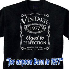 "40th BIRTHDAY WHISKEY Black T-Shirt ""Vintage 1975"" 40 year old GREAT GIFT IDEA"