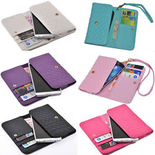 luxury Wallet WristLet Card Holder case Cover For SAMSUNG HUAWEI NOKIA AMAZON