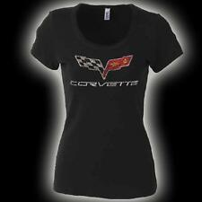 "CORVETTE ""C6"" LOGO RHINESTONE  TSHIRT LADIES  BLACK  BUDS CHEVROLET ST MARYS O"