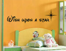 "Wish Upon A Star Child's ""Disney"" Bedroom Wall Art Sticker Decal Quote Nursery"