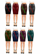 Women High Waist Wet Look Stretchy Above Knee Faux Leather Mini  Pencil Skirt