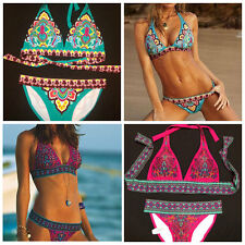 Tassel Halter Sexy Women Push Up Padded Bikini Swimwear Swimsuit Bathing Suit