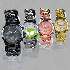 Fashion New Style Stainless Steel WOMENS/MENS Gold-tone Curb Wrist Watch dint