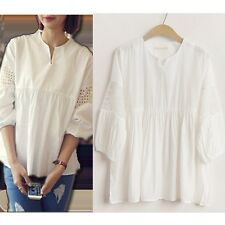 Lady Girl's Sweet White V Neck 3/4 Lace Puff Sleeve Casual Cotton Shirt Blouse