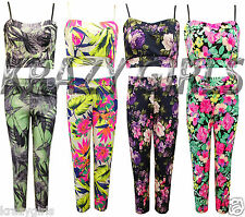 New Womens Floral Camisole Bralet Crop Top Playsuit Ladies 2 Bits Suit Size 8-10