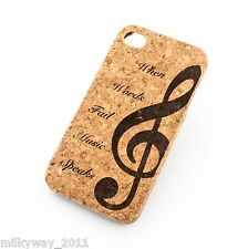C102 CORK CASE COVER FOR IPHONE 5C WHEN WORDS FAIL MUSIC SPEAKS G CLEF NOTE wood