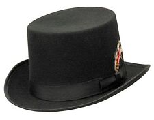 Western Wool Felt Top Hat w/ Feather Hat Band Cowboy Rodeo BLACK Color -S,M,L,XL