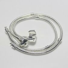 Wholesale Silver Snake Chain Plain Clasp Charm Bracelet Fit European Beads