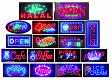"LED Animated Neon Bright Light Open Signs 2 On/Off Switches Chain 10x19"", 12x23"