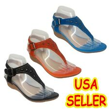 WOMENS FASHION STUDDED GLADIATOR THONG, CASUAL WEDGE SANDALS 291,USA SELLER