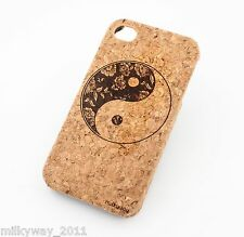 C159 CORK CASE COVER FOR IPHONE 5C FLORAL YIN YANG balance good evil flower wood