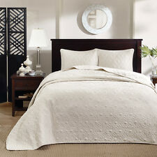 BEAUTIFUL CLASSIC XXXL IVORY WHITE TEXTURE VINTAGE SOFT BEDSPREAD QUILT SET NEW!