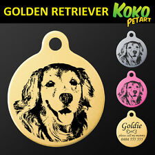 Personalised Engraved Golden Retriever Round Pet Dog ID Tag 7 Colors &Free Ring