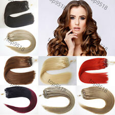 "New 16""18""20""22""24""26""100s Loop/Micro Ring Remy Human Hair Extensions More Color"
