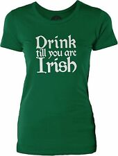 Drink till you are Irish (White) Womens Cotton T-Shirt