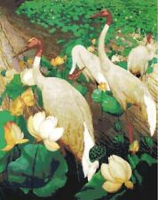Cranes & Lotus ~ Counted Cross Stitch Chart ~ Birds, Flowers