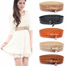 New Fashion Womens Lady Leather Buckle Hollow Wide Waist Belt Waistband