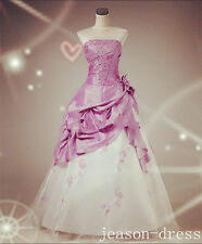 Hot Sale New Lilac Stock Beads Wedding Bride Dress Gown Lace-up Size6 8 10 12 14