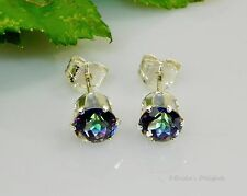 Genuine BLUE FIRE Mystic Topaz Round Sterling Silver Earrings (Free Shipping)