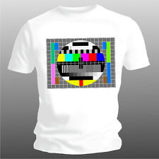 """Fun T-shirt """"tv Test Picture"""" Only White Sizes 3xl, 4xl, 5xl Unisex Girlie"""