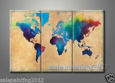Huge Abstract World Map Oil on Canvas Painting Modern Design Home Office Decor