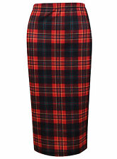 BRAND NEW LADIES EX TOPSHOP RED CHECK TARTAN PENCIL OFFICE SKIRT SIZE 6-12