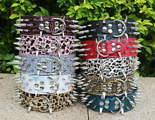 New Colorful Cheap 100% Guarantee Spiked Studded Leather Dog Collars PitBull Pet