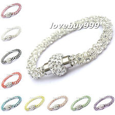 Nice Shining Diamante Chain Crystal Bracelets Magnetic Link Rhinestone Bangles