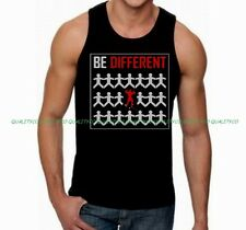 Men's BE DIFFERENT Black Tank Top MMA Workout Boxing Body Building gym vest tee
