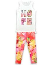 NEW SUMMER GIRLS HOPE VEST TOP & LEGGINGS SET/ OUTFIT SIZE 3-13 YEARS