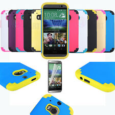 COLORFUL CUTE RUGGED ARMOR PROTECTIVE IMPACT HARD CASE COVER FOR NEW HTC ONE M8
